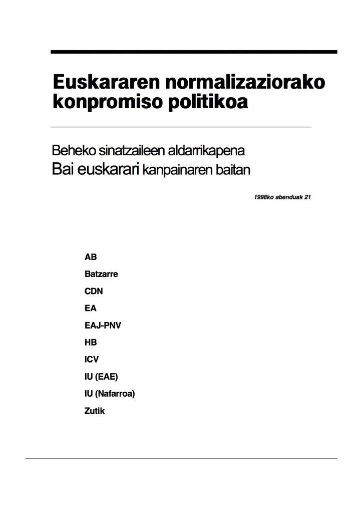 Euskararen normalizaziorako konpromiso politikoa (1998)
