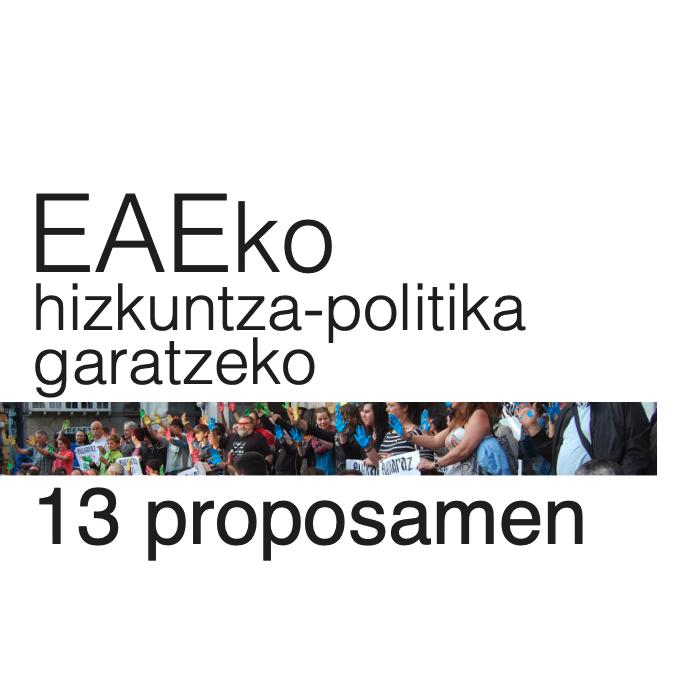 EAEko hizkuntza-politika garatzeko hamahiru proposamen (2015)