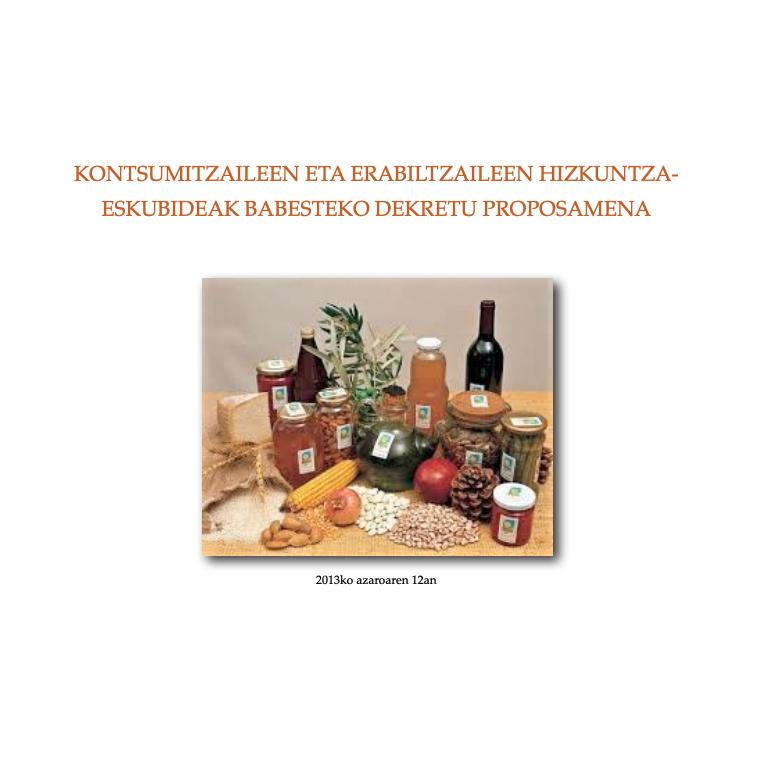 Kontsumitzaileen eta erabiltzaileen hizkuntza-eskubideak babesteko dekretu proposamena (2013)